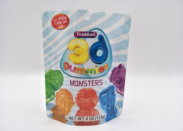 Ziplock Soft Shinning Stand Up Pouch Packaging For Monster Candy 10 Colors